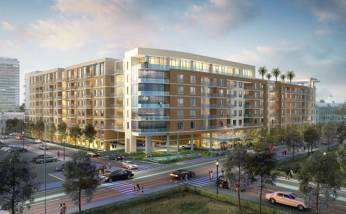 Rendering of Ziegler Cooper-designed apartment complex slated for Memorial City.
