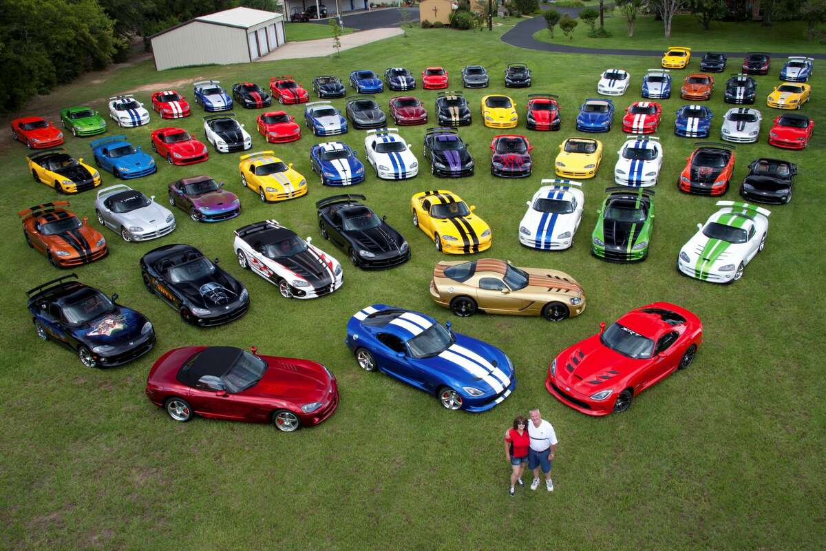 Wayne and D'Ann Rauh of Arp, Texas, own 80 Dodge Vipers and are slated to purchase the last one that comes off the assembly line in August 2017. See more images of the couple's incredible car collection.