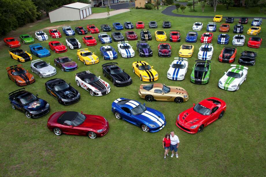 Wayne and D'Ann Rauh of Arp, Texas, own 80 Dodge Vipers and are slated to purchase the last one that comes off the assembly line in August 2017.See more images of the couple's incredible car collection.  Photo: Courtesy Of Wayne And D'Ann Rauh