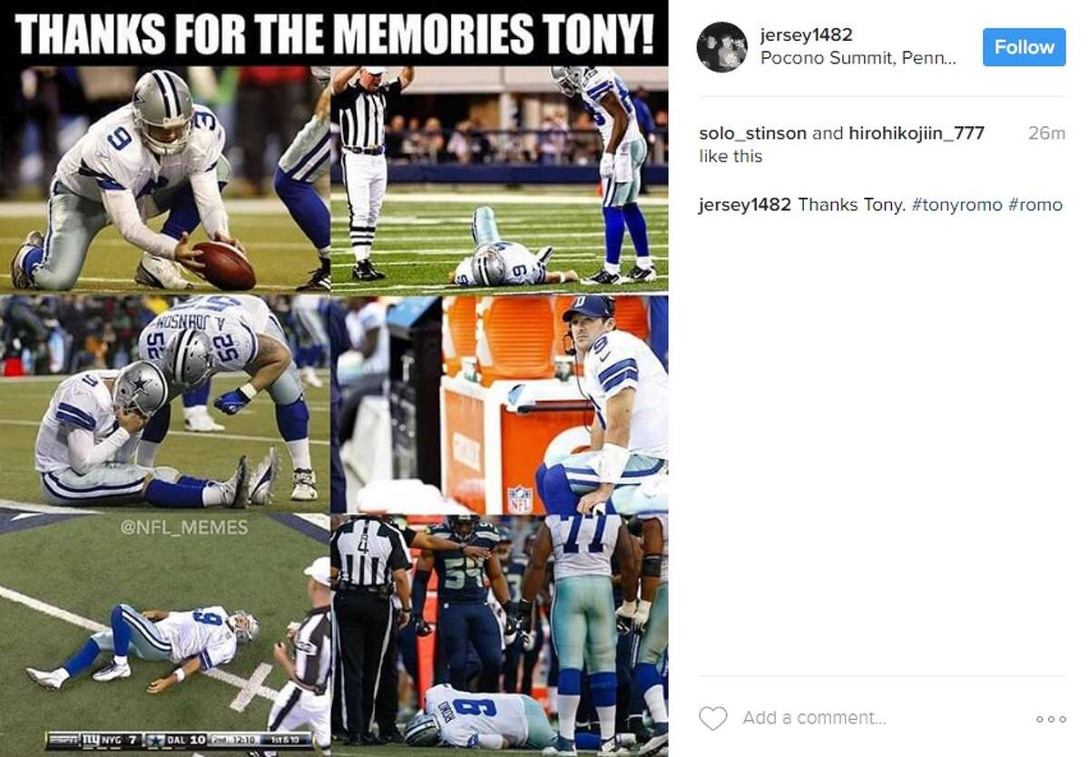 Instagram user @jersey1482 posted this photo in response to Tony Romo's release from the Dallas Cowboys.
