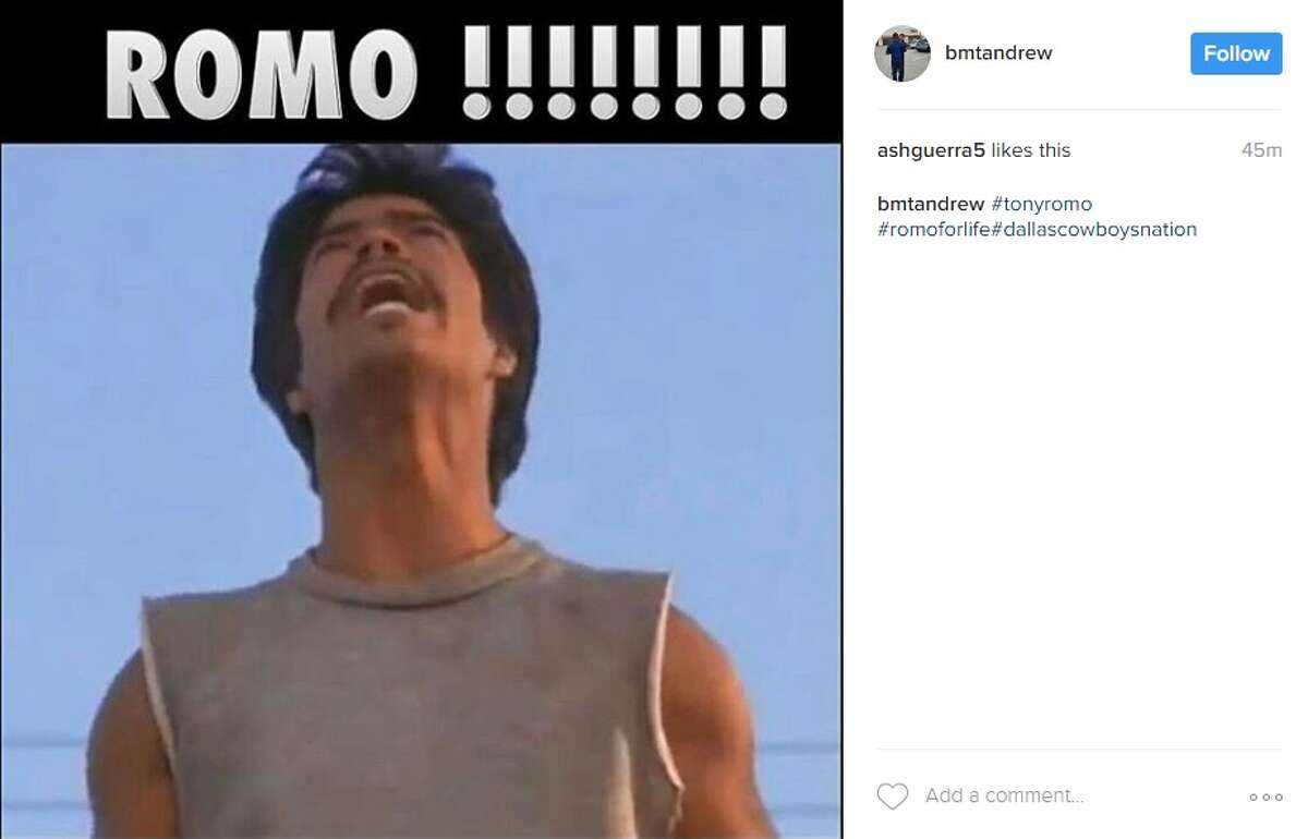 Instagram user @bmtandrew posted this photo in response to Tony Romo's release from the Dallas Cowboys.