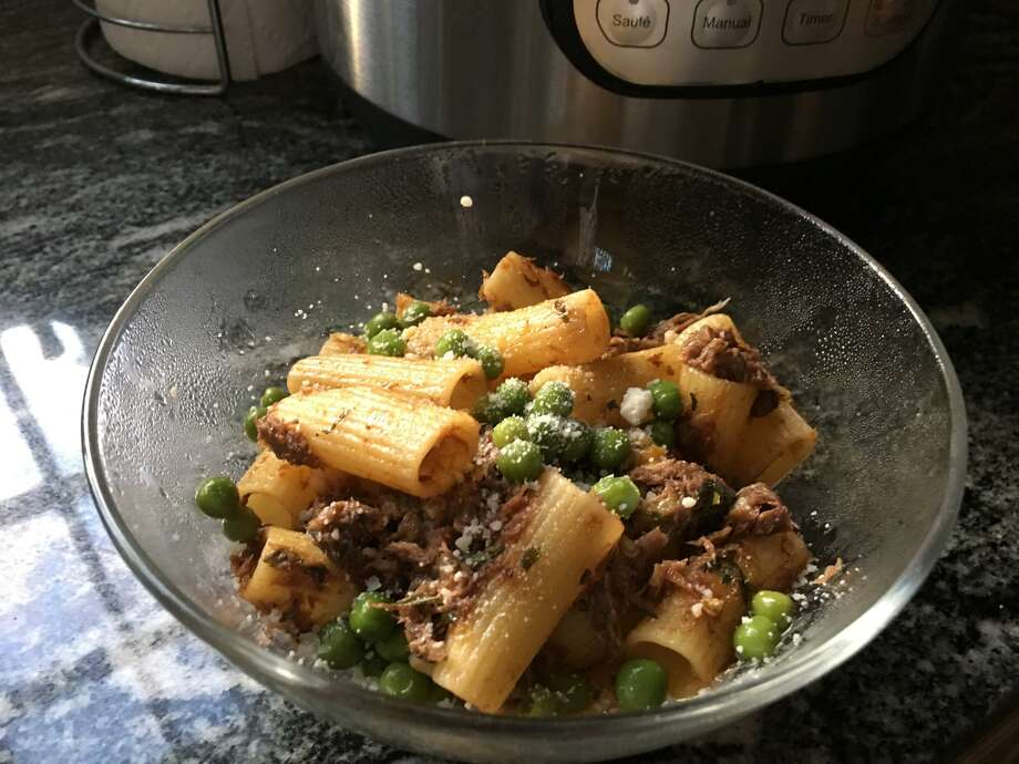Instant Pot Mississippi Roast was stretched into a second dish: shredded beef ragout with rigatoni. Photo: Lee Steele / Hearst Connecticut Media / Connecticut Post