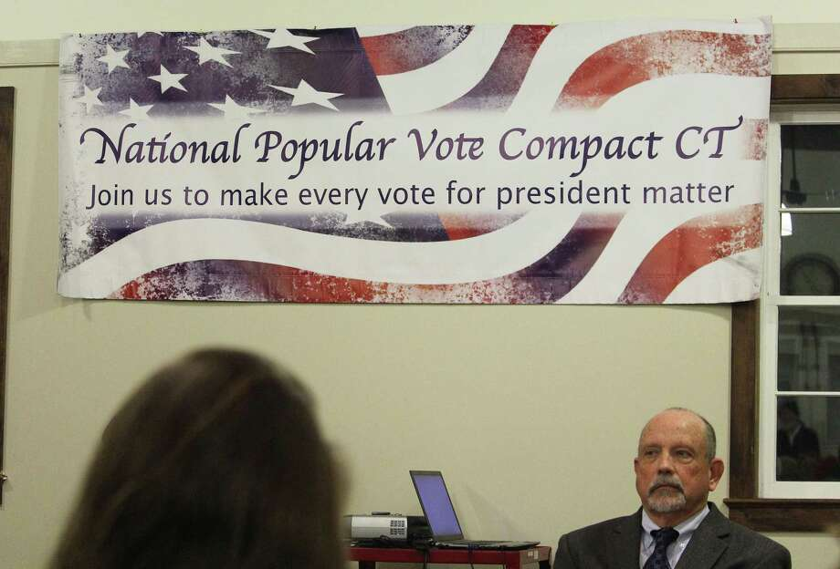 Luther Weeks, Executive Director of CT Voters Count, voices concerns with the National Popular Vote Interstate Compact during a panel at the Westport Country Playhouse in Westport, Conn. on March 2, 2017. Photo: Laura Weiss / Hearst Connecticut Media / Westport News