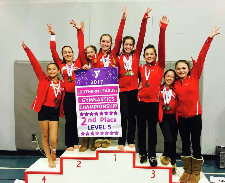 The Wilton Y Gymnastics team Level 5 girls placed second at the with 2nd place team win, including Allyson Scheurkogel taking first in the All-Around, at the Southern Connecticut League Championships, held in Trumbull. Photo: John Nash / Hearst Connecticut Media / Norwalk Hour