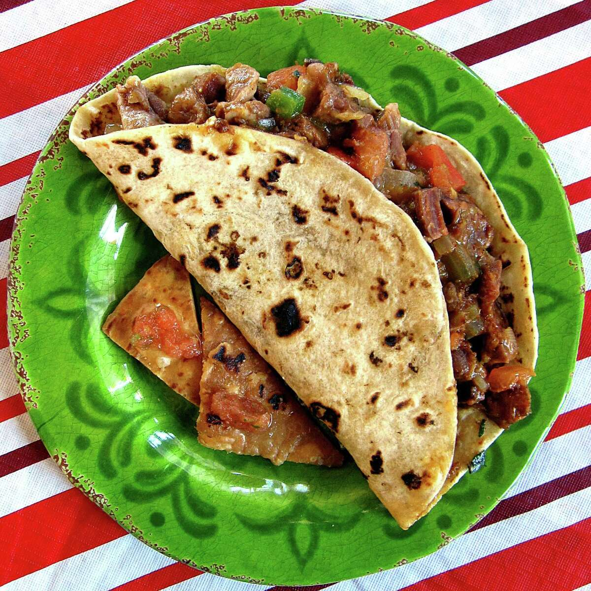 Taco of the Week: Carne con chile taco on a handmade flour tortilla from Danny's Cocina Mexicana on Callaghan Road.
