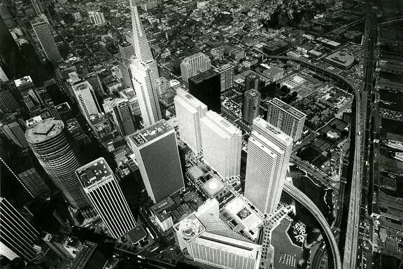 San Francisco aerial photograph, showing from left to right: Embarcadero Centers, 1 to 4, starting from the Transamerica Pyramid to the Hyatt Regency Hotel. May 20, 1982
