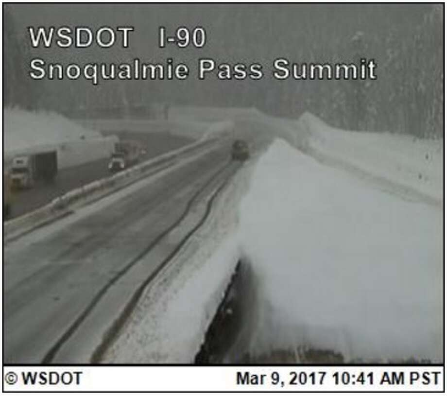 Interstate 90 over Snoqualmie Pass was closed westbound at three points Thursday morning and was expected to close eastbound later in the day. Photo: WSDOT