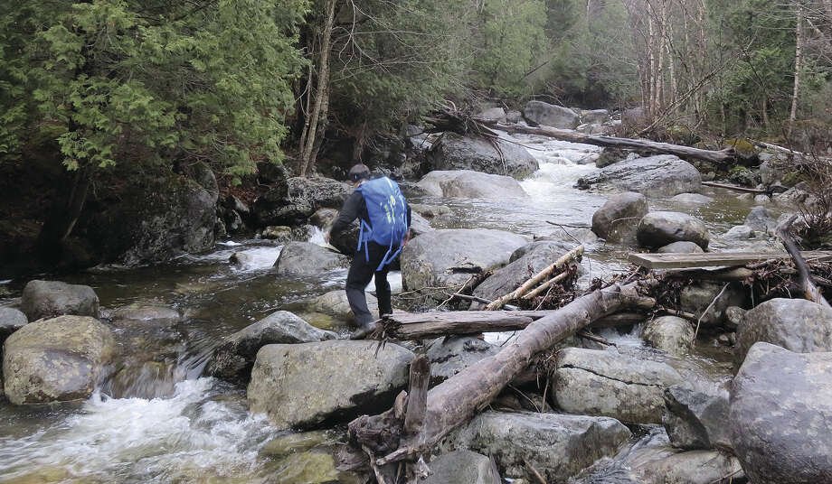 Crossing Marcy Brook with my hiking wife. (Herb Terns / Times Union) Photo: Picasa
