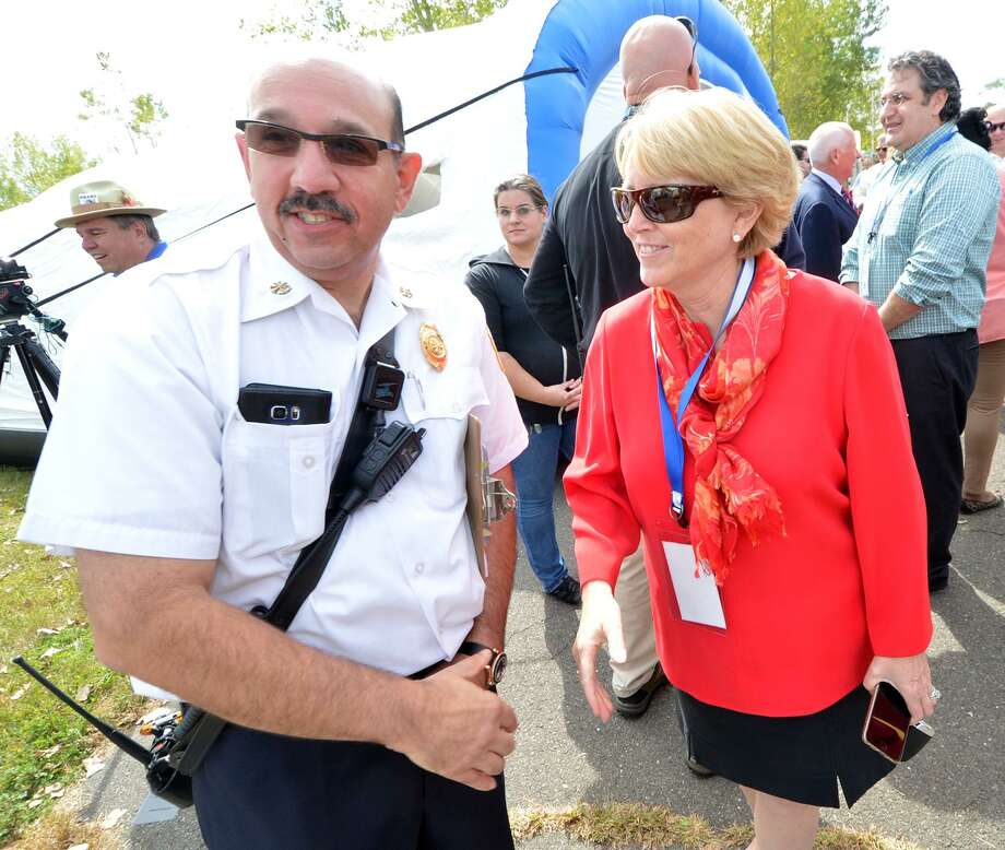 Wilton Fire Department Deputy Fire Chief Mark Amatrudo with the Town of Wilton's First Selecman Lynne Vanderslice during the Region 1 Emergency Planning Team Preparedness and Response Field Day last September. Photo: Alex Von Kleydorff / Hearst Connecticut Media / Connecticut Post