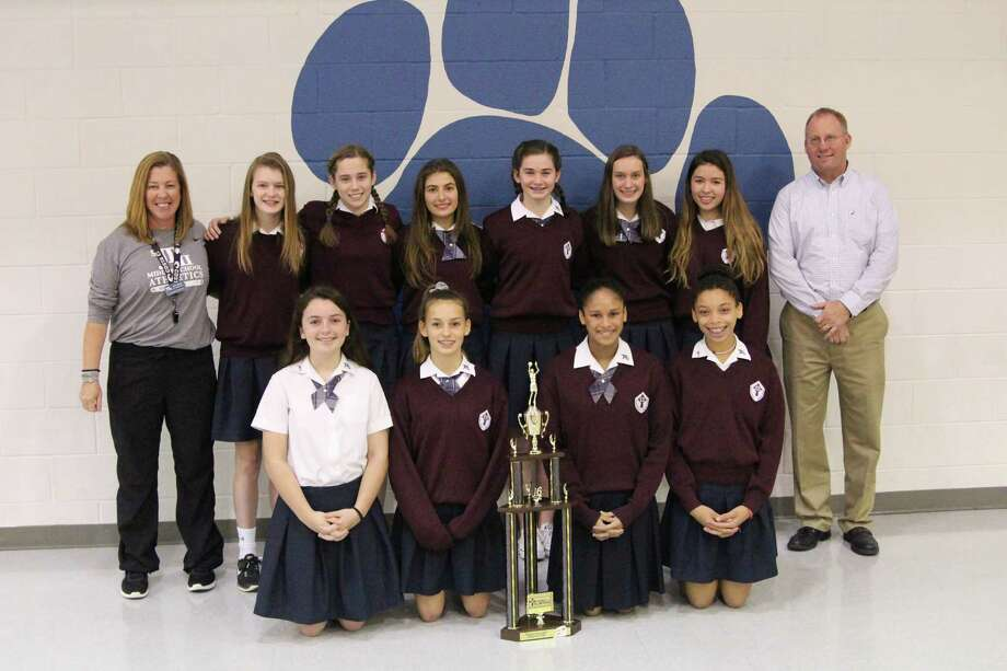 The 2016-2017 St. John Paul II varsity girls' basketball team won the Greater Houston Athletic Association city championship in February. The team is comprised of Olivia Babasick, Izzy Christiansen, Nicole Clement, Meyer Jane Davis, Hannah Hajovsky, Ashley Kuhlhanek, Kristen Mohan, Sarah Schott, Allie Scott, and Hannah Yohr. Photo: Submitted Photo