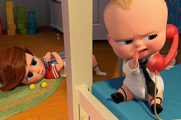 """Tim (voiced by Miles Bakshi) discovers Boss Baby�s (voiced by Alec Baldwin) surprising secret in DreamWorks Animation�s """"The Boss Baby."""" Courtesy of DreamWorks Animation."""