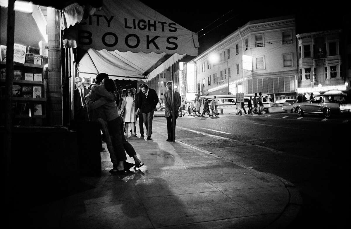 A street scene outside of City Lights Books, 1967