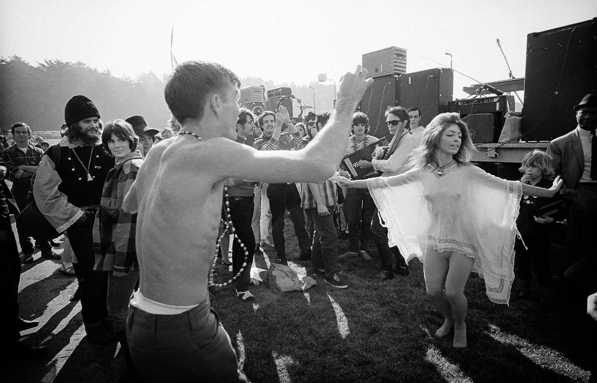 People dance at the Human Be-In at the Polo Fields in Golden Gate Park in 1967.