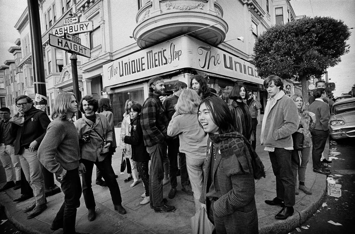 Vi Val and the rest of the band Blue Cheer stand at the corner of Haight and Ashbury streets in 1967.