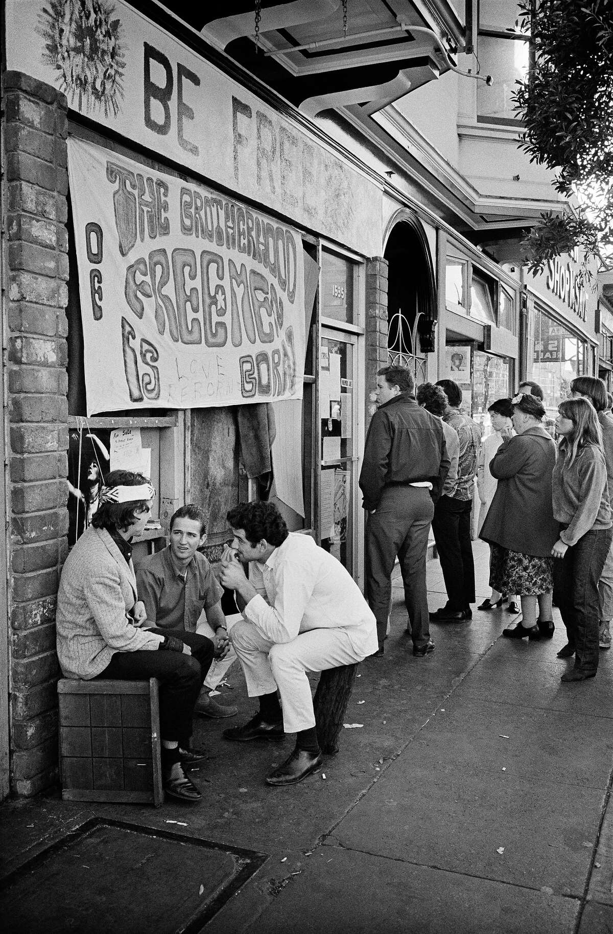 A storefront for The Brotherhood of Freemen, a group opposed to the use of hard drugs, on Haight Street.