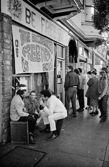 A storefront for The Brotherhood of Freemen, a group opposed to the use of hard drugs, on Haight Street. Photo: © Jim Marshall Photography LLC