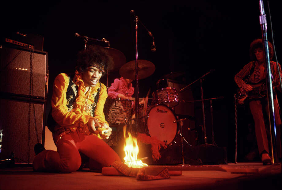 Jimi Hendrix lights his guitar on fire  at the Monterey Pop Festival on June 17, 1967. Photo: © Jim Marshall Photography LLC