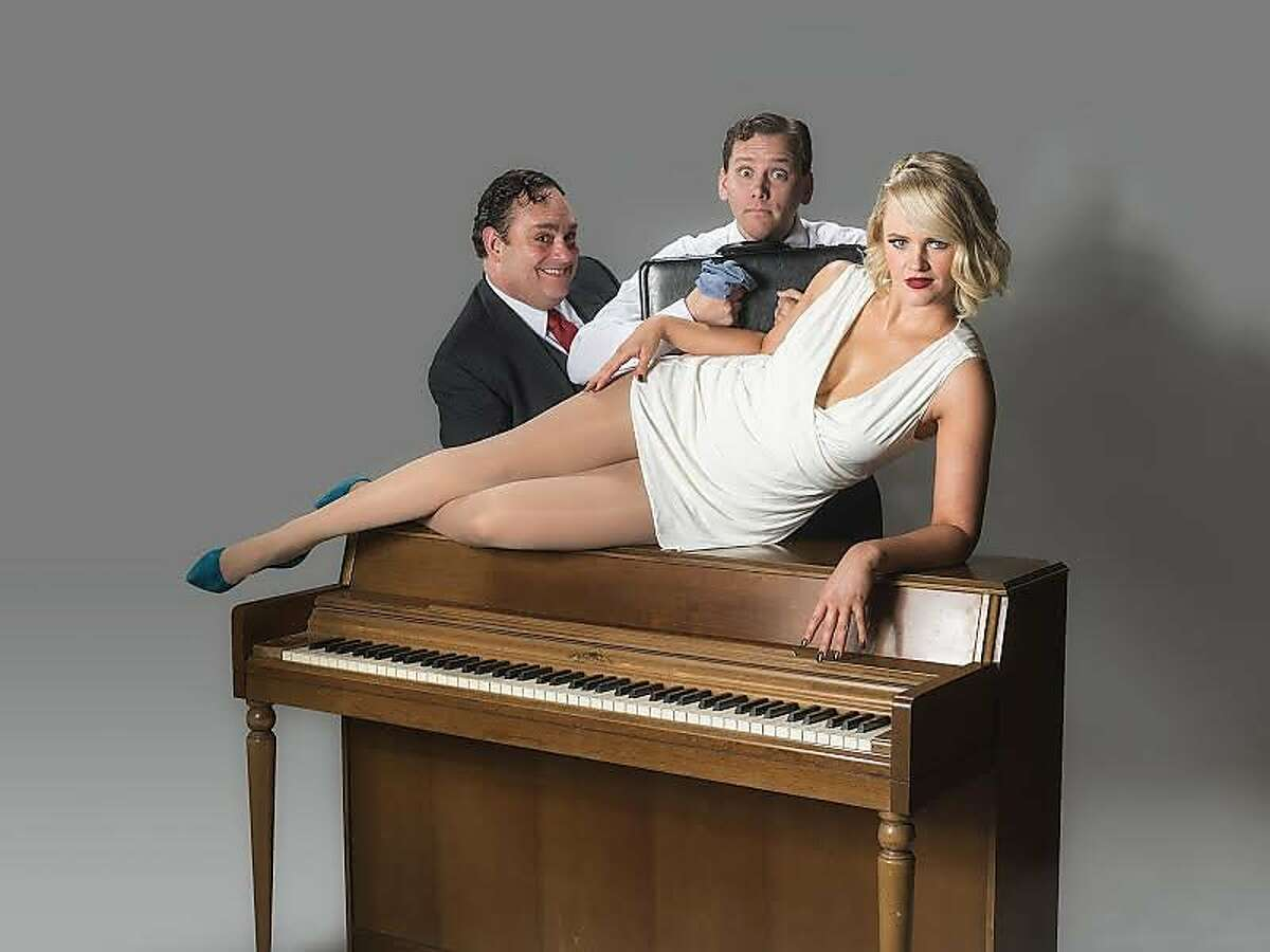 """From left:�Marcus Klinger as Max Bialystock,�Robert Lopez as�Leo Bloom and�Jocelyn Pickett as�Ulla in Broadway By the Bay's """"The Producers."""""""