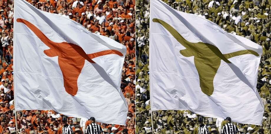 Texas Longhorns flag at Cotton BowlType of color blindness: Red-Blind/Protanopia Photo: Credit: Ronald Martinez / Staff