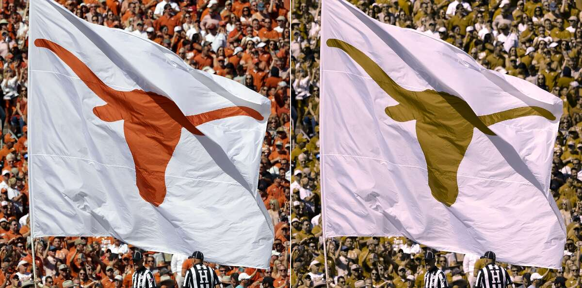 Texas Longhorns flag at Cotton Bowl Type of color blindness:Green-Blind/Deuteranopia