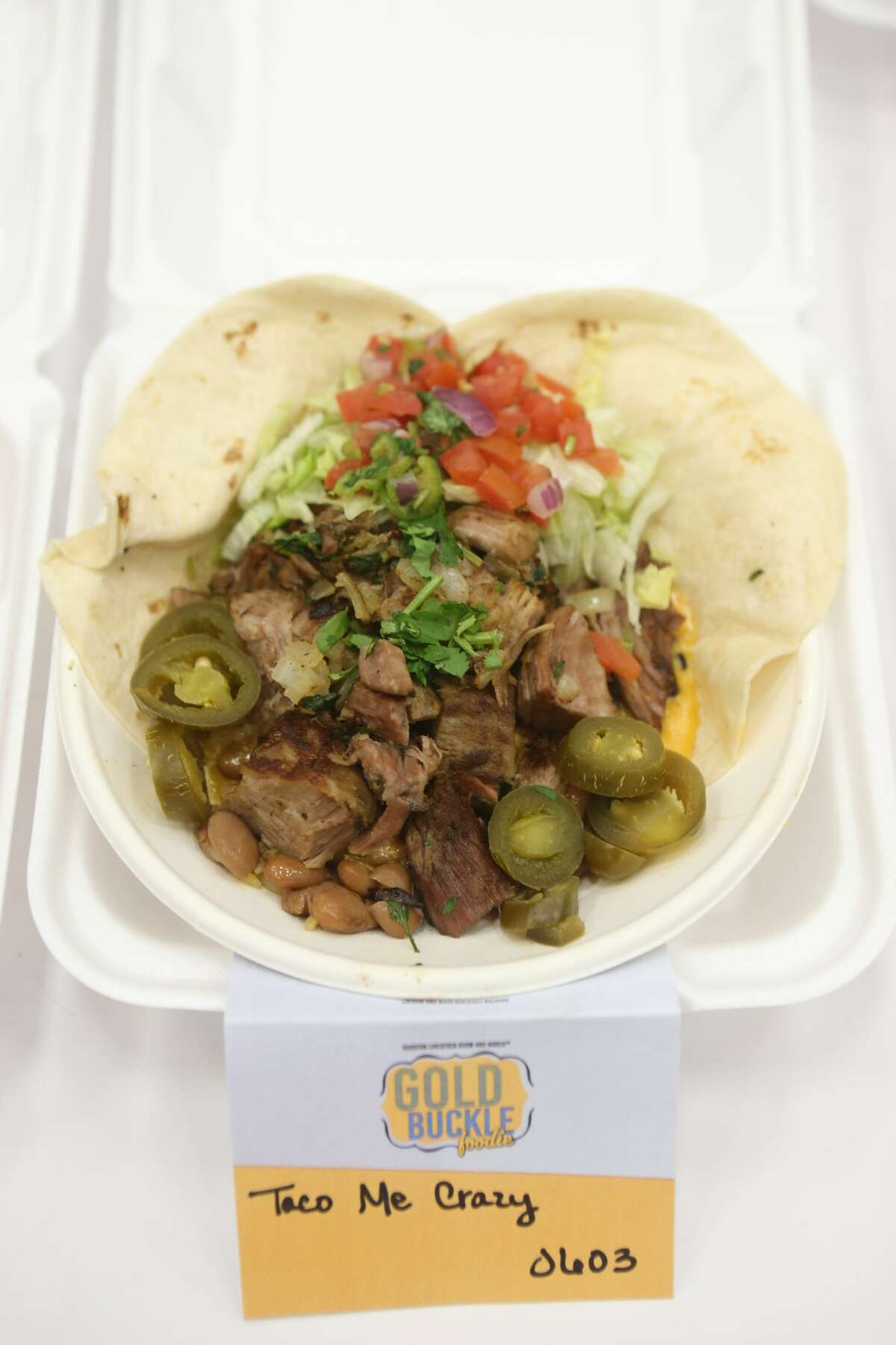 The Taco Me Crazy on display during judging for the Gold Buckle Foodie Awards at Rodeo Houston inside NRG Center Thursday, March 9, 2017, in Houston.