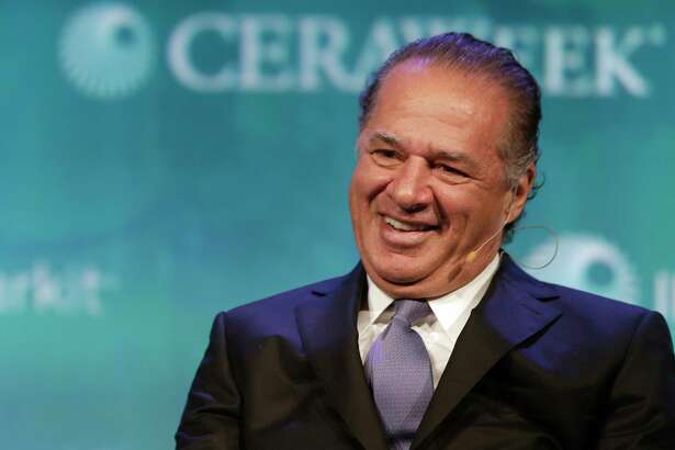 Charif Souki, chairman of LNG firm Tellurian, speaks Wednesday during the CERAWeek energy conference.