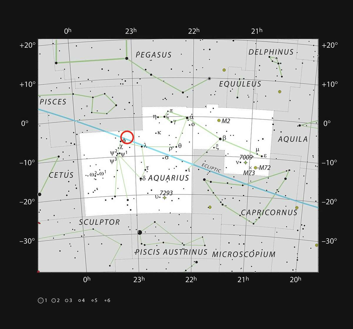 ESO caption: This chart shows the naked eye stars visible on a clear dark night in the sprawling constellation of Aquarius (The Water Carrier). The position of the faint and very red ultracool dwarf star TRAPPIST-1 is marked. Although it is relatively close to the Sun, it is very faint and not visible in small telescopes.