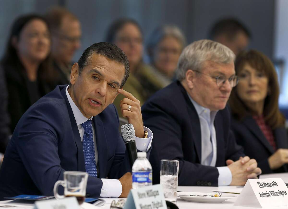 Former Los Angeles mayor Antonio Villaraigosa (left) attends a quarterly meeting of the Silicon Valley Leadership Group board of directors as a special guest speaker in Santa Clara, Calif. on Thursday, March 9, 2017. Several of the members will be part of a delegation traveling to Washington, D.C. to meet with lawmakers.