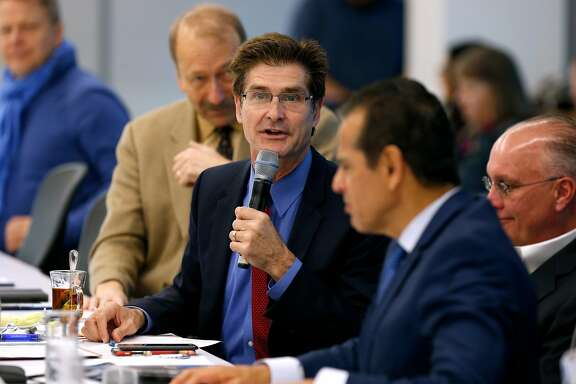 Carl Guardino, president and CEO of the Silicon Valley Leadership Group, leads a quarterly meeting of the organization's board of directors in Santa Clara, Calif. on Thursday, March 9, 2017. Guardino is among several of the members that will be part of a delegation traveling to Washington, D.C. to meet with lawmakers.