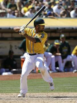 Oakland Athletics' Marcus Semien (10) bats against the Seattle Mariners during a baseball game in Oakland, Calif., Sunday, July 5, 2015. (AP Photo/Jeff Chiu)