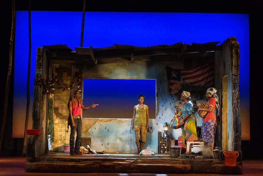 """Adeola Role (left), Joniece Abbott-Pratt, Stacey Sargeant and Ayesha Jordan in """"Eclipsed."""" Photo: Little Fang, The Curran"""