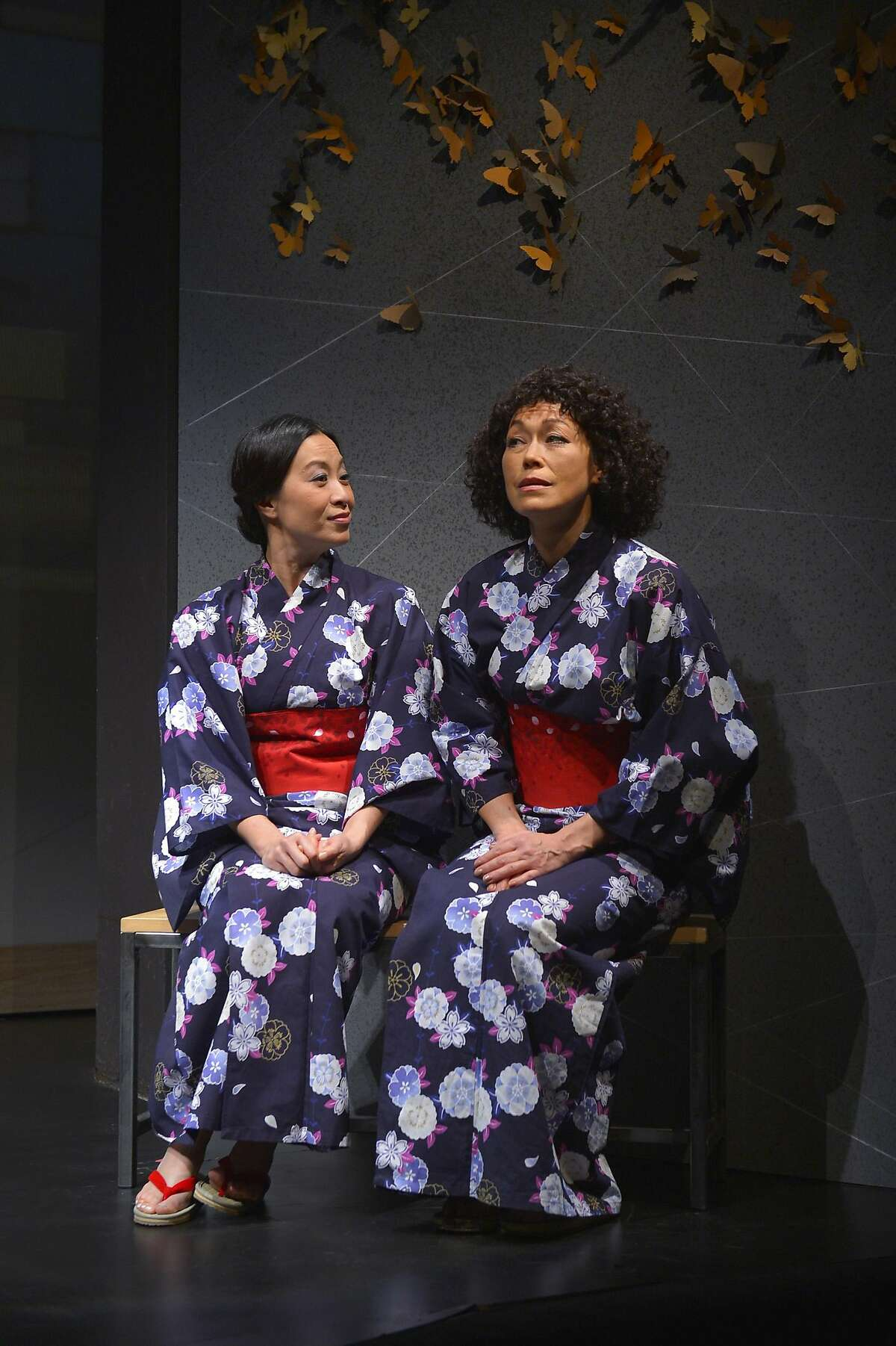 """Cousins Sayuri (Elizabeth Pan) and Hiromi (Mia Tagano) come together at a hot spring in�TheatreWorks' """"Calligraphy."""""""