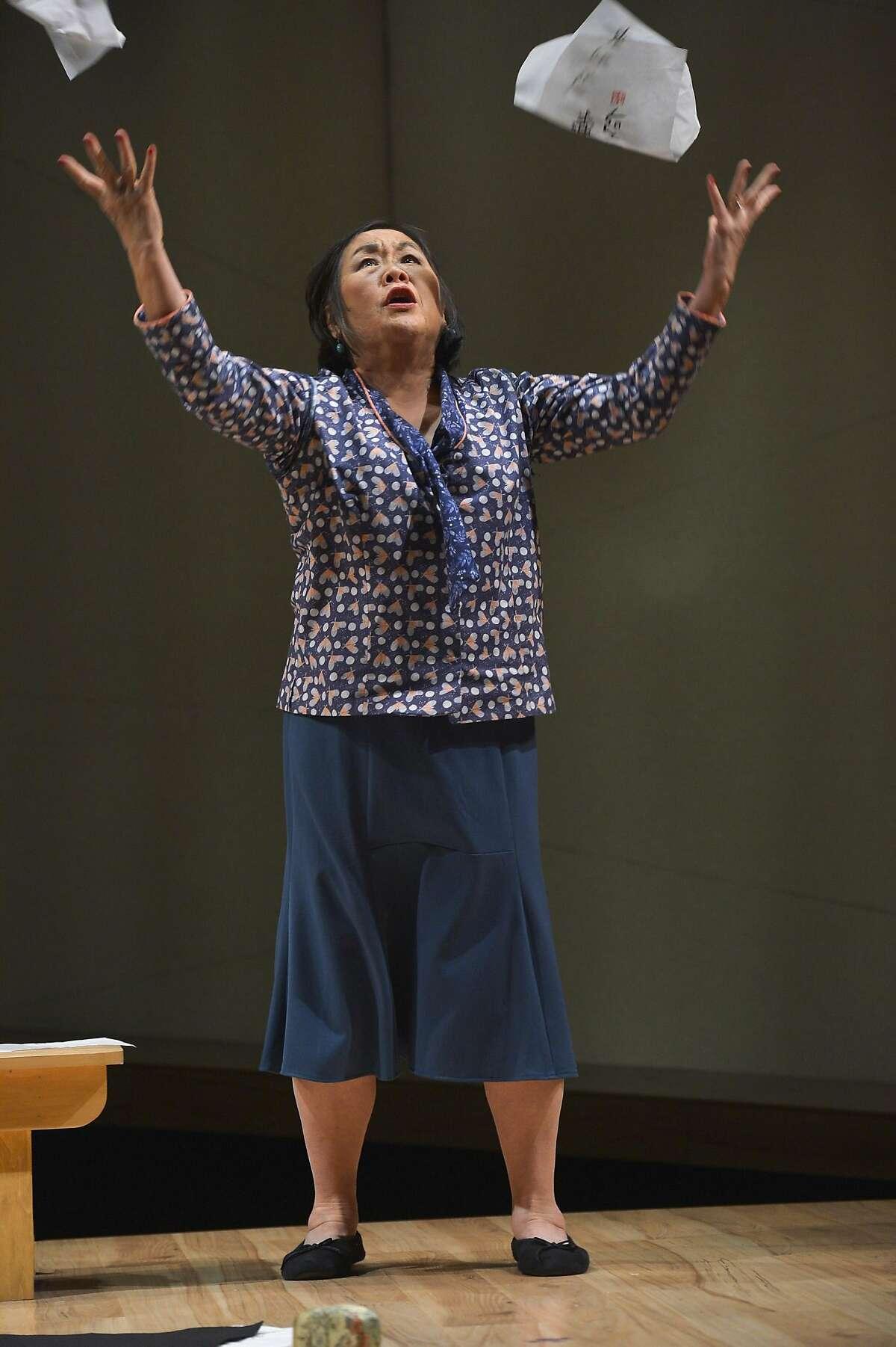 "Noriko (Emily Kuroda) vents frustration inTheatreWorks' ""Calligraphy."""