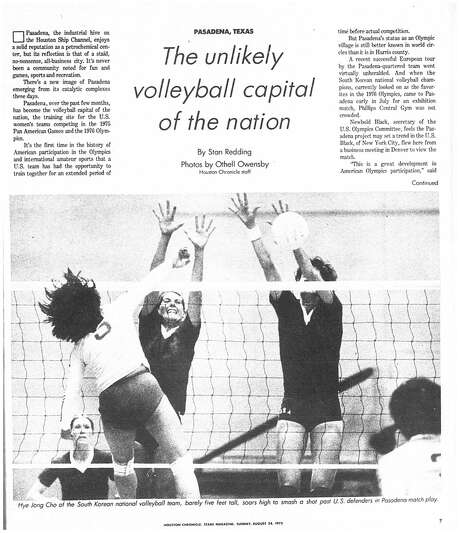 Houston Chronicle inside page - August 24, 1975 - section Texas Magazine, page 7.   PASADENA, TEXAS The unlikely volleyball capital of the nation.  (US WOMENS VOLLEYBALL NATIONAL TEAM) Photo: HC Staff / Houston Chronicle