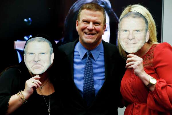 Billionaire Tilman Fertitta, center, takes a photo with Eat, Drink, Host owners Brittany Hankamer, left, and Megan Oberly, right, as they interview for a chance to be on Fertitta's show, Billion Dollar Buyer, at the George R. Brown Convention Center Thursday, March 9, 2017 in Houston. ( Michael Ciaglo / Houston Chronicle )