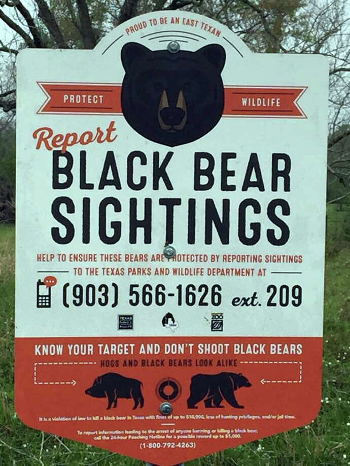 A sign posted on CR 2087 in Hardin near the entrance to the Trinity River National Wildlife Refuge caused a bit of a stir this week but biologists say not to worry. Black bears are not in Liberty County at this time.SLIDESHOW: Wild Texas - Which counties have the most wildlife? Photo: Submitted
