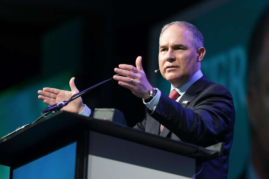 Scott Pruitt, administrator of the Environmental Protection Agency (EPA), speaks during the 2017 CERAWeek by IHS Markit conference in Houston, Texas, U.S., on Thursday, March 9, 2017. CERAWeek gathers energy industry leaders, experts, government officials and policymakers, leaders from the technology, financial, and industrial communities to provide new insights and critically-important dialogue on energy markets. Photographer: F. Carter Smith/Bloomberg Photo: F. Carter Smith, Bloomberg