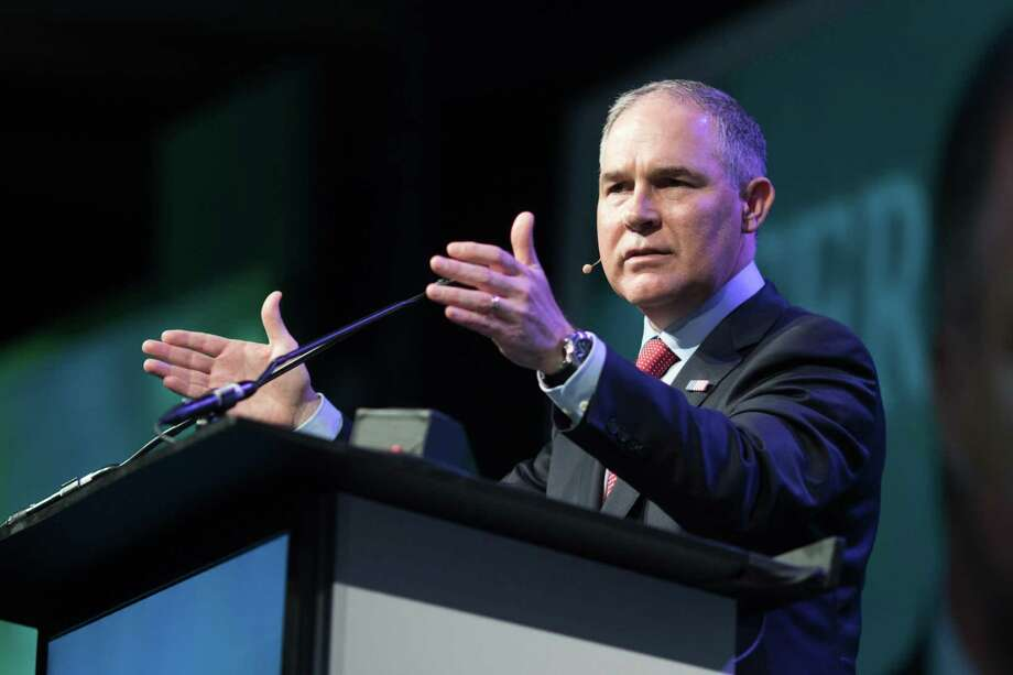 Scott Pruitt, administrator of the Environmental Protection Agency (EPA), speaks during the 2017 CERAWeek by IHS Markit conference in Houston Thursday. Pruitt outraged scientists and environmental groups and put him at odds with his agency's own findings after telling CNBC that he didn't think carbon dioxide was a primary driver of climate change Thrsday. Photo: F. Carter Smith /Bloomberg / © 2017 Bloomberg Finance LP