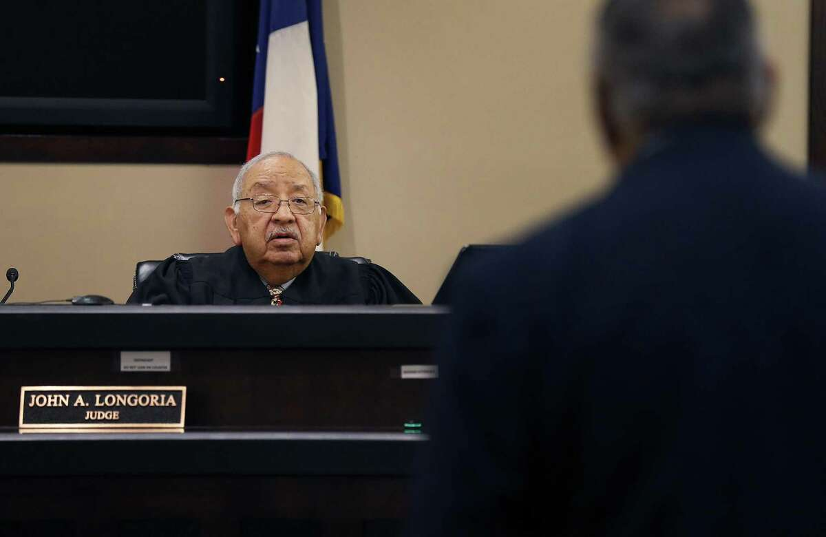 County Court No. 5 Judge John Longoria presides in his courtroom on Thursday, Mar. 9, 2017. A man here illegally, but who applied for a green card through his wife, was arrested this week outside a Bexar County courtroom after he left a pretrial conference in his DWI case. The arrest of Nicholas Lugo set off a debate on whether there has been a shift in practice targeting immigrants for deportation by the Trump administration. Longoria said Lugo's arrest at the courthouse is unusual and might have a chilling effect on other undocumented immigrants who may have cases pending in the county courts.