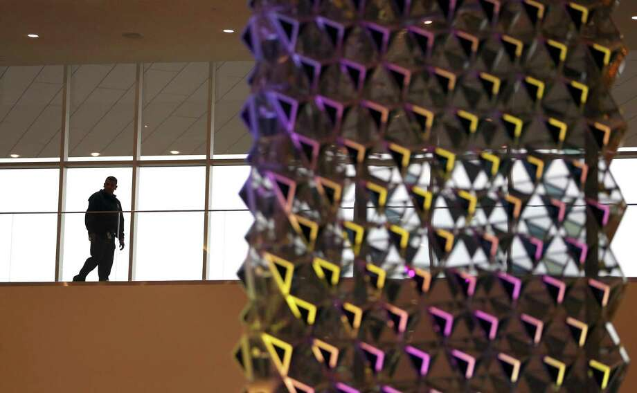 """Liquid Crystal"" is a $1 million, 30-foot-tall interactive sculpture by London-based Jason Bruges Studio. Councilman Joe Krier says he remembers thinking, ""What in the world is this, and is it going to do something?"" after its unveiling last year at the Convention Center. Photo: San Antonio Express-News / File Photo / © 2016 San Antonio Express-News"