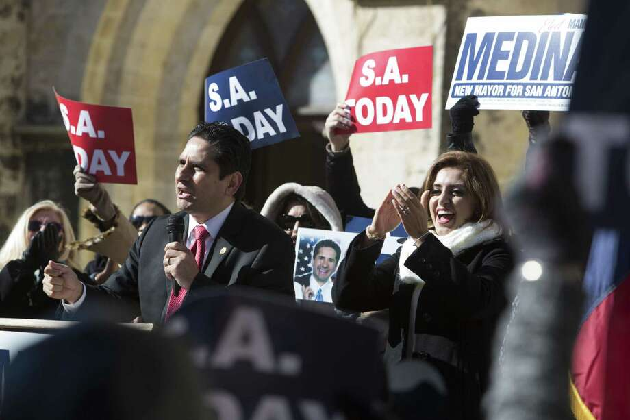 Manuel Medina announces his candidacy for mayor in front of San Fernando Cathedral in Main Plaza on January 7, 2016 in San Antonio, Texas. Photo: Carolyn Van Houten / Carolyn Van Houten / 2016 San Antonio Express-News
