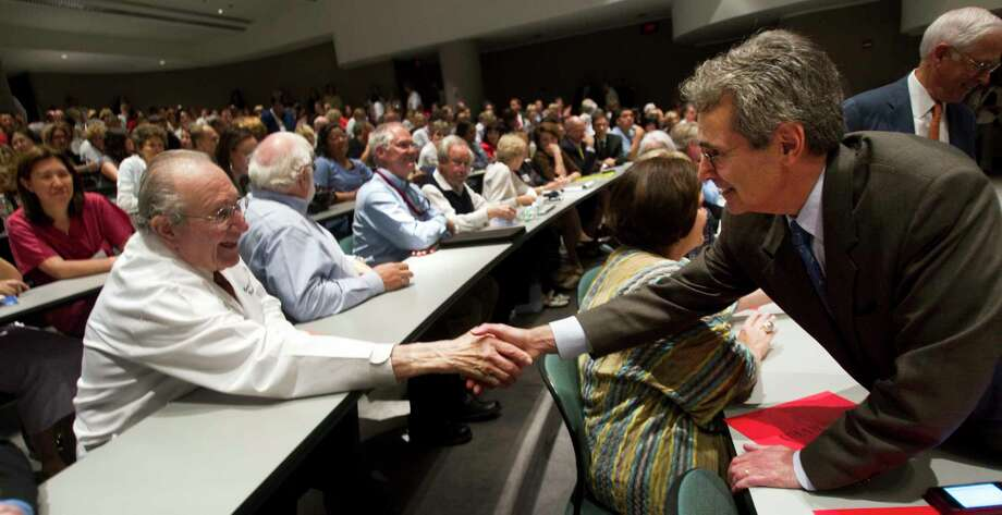 When Dr. Ronald DePinho, right, became president of M.D. Anderson Cancer Center in 2011, he began working with renowned researchers such as Professor Emil J. Freireich M.D., left, who cured childhood leukemia more than a half century ago.  Photo: Brett Coomer, Staff / © 2011 Houston Chronicle