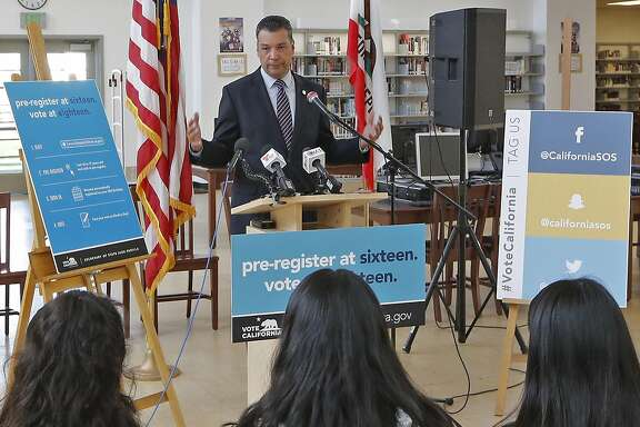 California Secretary of State Alex Padilla speaks before students participating in the launch of the California Online Pre-Registration for 16 and 17 Year Olds at Robert F. Kennedy High School in Los Angeles Thursday, March 9, 2017. California youth who pre-register to vote will have their registration become active once they turn 18 years old. Eligible youth can pre-register to vote online at www.registertovote.ca.gov. (AP Photo/Damian Dovarganes)