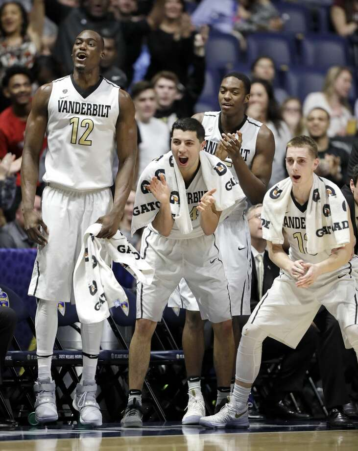 Vanderbilt players cheer on their teammates during the second half of an NCAA college basketball game against Texas A&M at the Southeastern Conference tournament Thursday, March 9, 2017, in Nashville, Tenn. (AP Photo/Wade Payne) Photo: Wade Payne/Associated Press