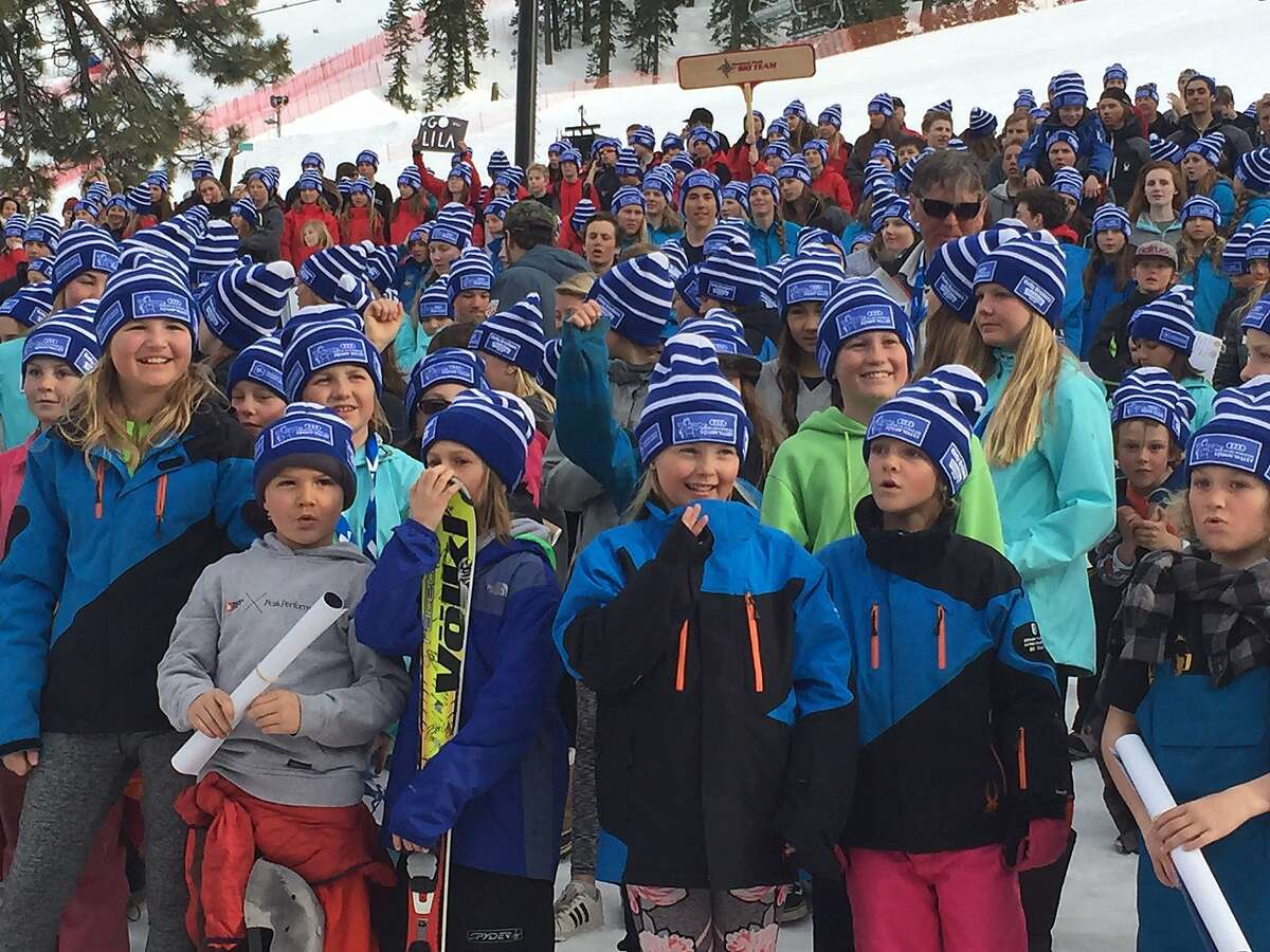 Squaw Valley is hosting the Women's World Cup ski races on March 10-11, 2017. In the runup to the race, young ski racers along with established stars, like Squaw native Julia Mancuso, celebrated the event at pre-race festivities held on Wednesday, March 9, 2017, at the Village at Squaw Valley.;