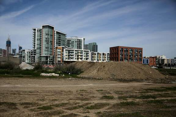 An empty plot of land is seen off of Owens Street in the Mission Bay neighborhood of San Francisco, California, on Thursday, March 9, 2017.