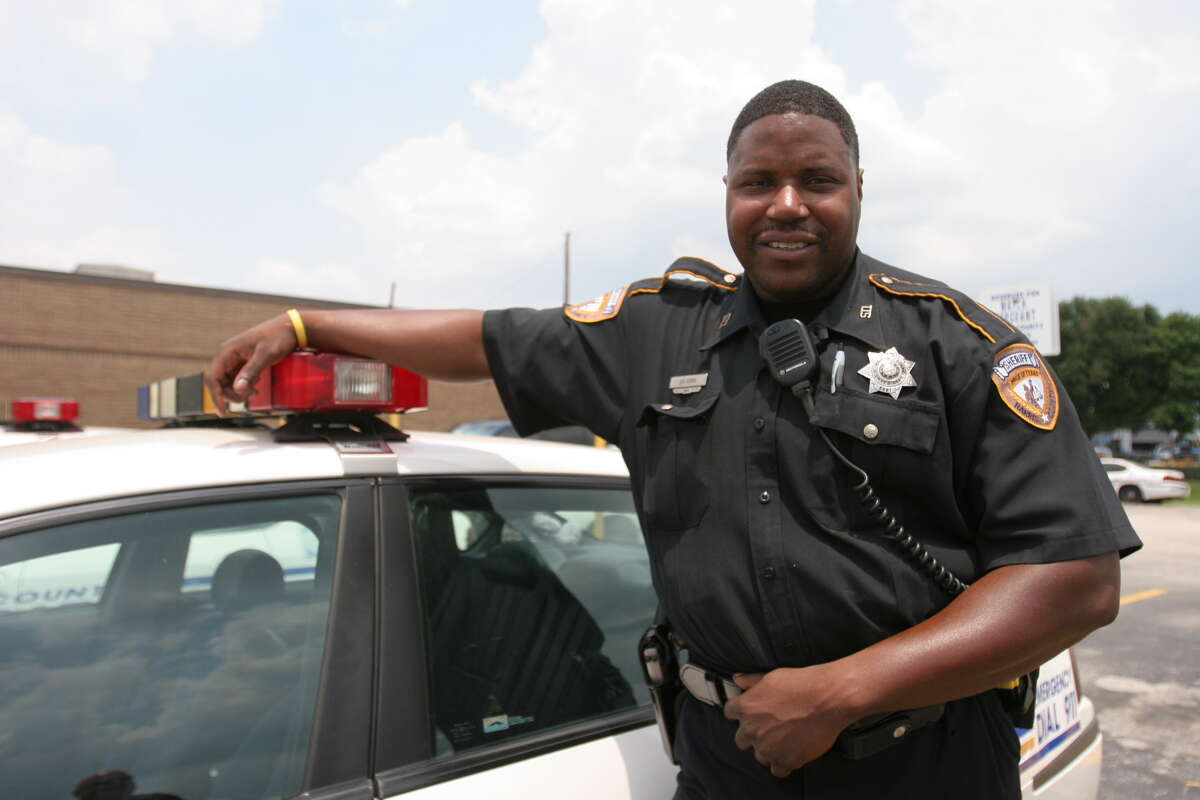 Harris County Sherrif's Department Deputy Jeurel Sims, 33, of southwest Houston was named deputy of the year by Katy Elks'. Suzanne Rehak/For the Chronicle