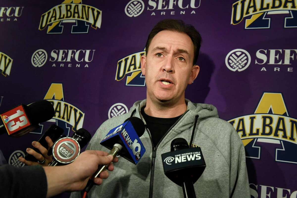 UAlbany coach Will Brown talks with the media about Sunday's basketball game against crosstown rival Siena on Friday, Nov 25, 2016, at UAlbany in Albany, N.Y. (Cindy Schultz / Times Union)