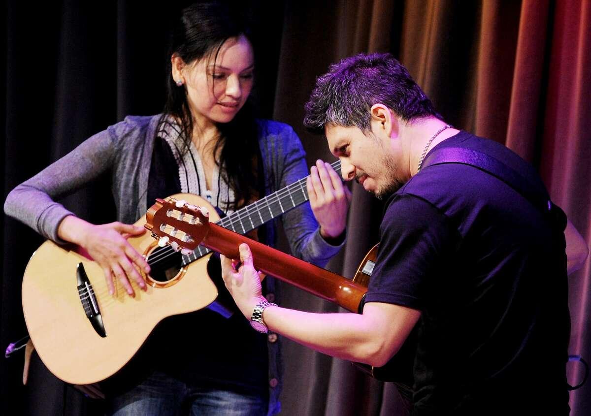 Musicians Rodrigo Sanchez and Gabriela Quintero perform at The Grammy Museum on March 23, 2010 in Los Angeles, California.