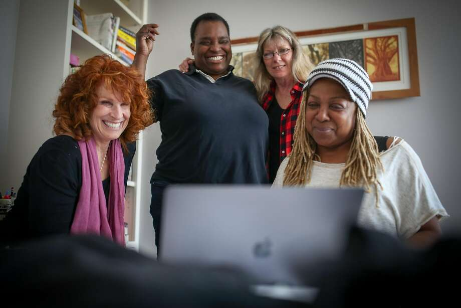 Pamela Rose (left), Daria Johnson, Ruth Davies and Pat Wilder watch one of their previous performances at Rose's home. Photo: Amy Osborne, Special To The Chronicle